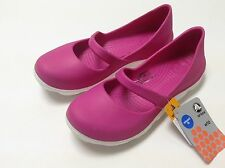 Crocs Women's Duet Sport Mary Jane Flat Fuchsia White Size 6 7 8 9 10 11