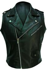 100% Real Cow Leather Black Sleeveless Brando Style Bikers Vest/Waistcoat/Jacket