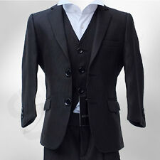 NEW BOYS FINE LINE BLACK SUIT ITALIAN CUT PAGE BOY WEDDING PROM SUIT AGE 1 TO 15