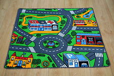 Road Map Children's Rug Kid's City Village Town Road Play Mat