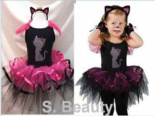 NWT Cat Halloween X'mas Party Costume Tutu Dresses Dance Ballet w/Headband 2-7T