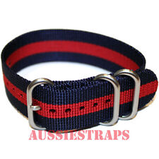 PREMIUM ZULU 3 Ring NAVY BLUE RED  Military Diver's watch strap band Nylon SS
