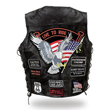 leather motorcycle vest jacket eagle live to ride for NEW big size : S ~7XL