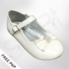 BABY GIRLS CHRISTENING SHOES, IVORY CREAM WEDDING FLOWER GIRL SHOES WITH BOW