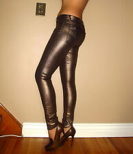 $198 Seven 7 For All Mankind Skinny Jeans Copper Metallic Leather-Look 24-29