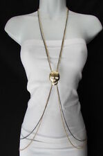 New women metal body chain gold / pewter big skull pendant NYC trendy fashion