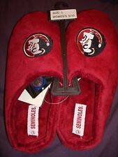 FLORIDA STATE SEMINOLES LADIES PLUSH GARNET SLIPPERS WITH EMBROIDERED LOGO NEW