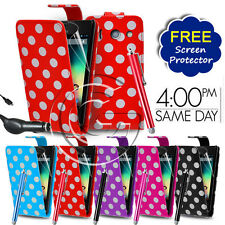LEATHER POLKA DOTS WALLET FLIP CASE COVER FOR HUAWEI ASCEND Y300 & ACCESSORIES
