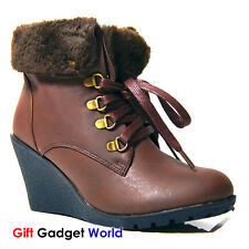 Ladies Womens Fur Lined Ankle Boots Winter Snow Boots Size 3 4 5 6 7 Brown Gina