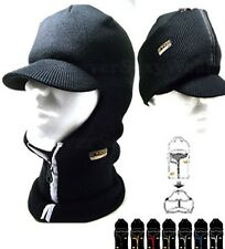 Unisex Men Women ZIPPER RADAR BEANIE with VISOR SKI MASK WINTER Skull Cap BLACK