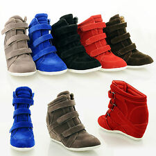 NEW SUEDE CONCEALED WEDGE TRAINERS PUMP PLATFORMS STRAPS SHOES LADIES