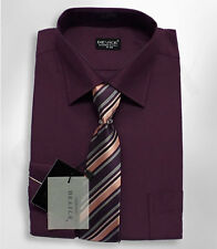 PAGE BOYS FORMAL PLUM SHIRT AND TIE SET WEDDING PROM SUIT SHIRT 6 MNTS TO 15 YRS