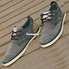 Cool Men's Lace-up Round  Classic Flat Shoes Toe Canvas Casual Gray Brown ES9P