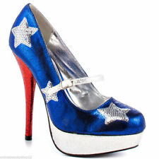 RUPAULS DRAG RACE BY IRON FIST PATRIOTIC RED/BLUE/SILVER PUMP PLATFORM  SHOES