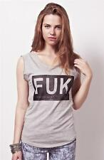 FUK Style Tee Tank Style Tshirt Top Summer Wear by YouLookHot - Grey