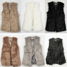Lady Faux Fur Vest Waistcoat Outwear Long Hair Winter Warm Coat Jacket Tops New