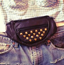 Leather studded 80s stud grunge spike festival bumbag fanny pack - choose colour