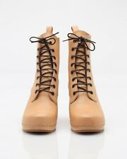 Swedish Hasbeens Grandma Boot Nature Lace up Bootie Boot Tie Tan Camel Nude NEW