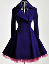 women slim blue purple wool blend trench warm coat dress jacket double breasted