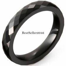 4MM Black Faceted Ceramic Rings Engagement Promise Wedding Band Ladies Gifts