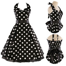 Halter BLACK Polka Dot Swing 50s Dress Vintage Rockabilly Evening Dance dresses