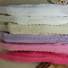 """14Yds 6 Colors Scalloped Embroidery Eyelet Lace Trim Mini Flowers 2.2cm (0.9"""")WD"""