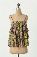 $98 Anthropologie Leifnotes Tiered Petunia Tank Blue Floral Chiffon NEW L245