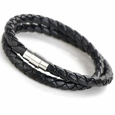 US Double Wrap Leather Stainless Steel Wristband Bracelet Magnetic Clasp 075