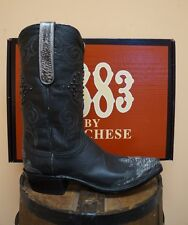 LUCCHESE MENS COWBOY BOOTS! 1883 COLLECTION! BLACK LIZARD WINGTIP! N1638.53