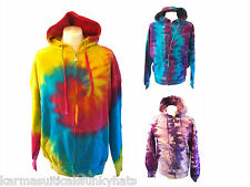 NEW HAND DYED TIE DYE HOODIE SWEAT TOP RAINBOW PURPLE BLUE M L XL