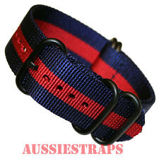 PREMIUM ZULU® PVD 5 Ring NAVY BLUE RED STRIPE Military Divers watch strap band