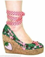 TOO FAST ESPADRILLE STRAWBERRY WOMENS WEDGE HEEL GREEN SANDALS/SHOES