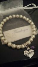 BRIDESMAID CHARM BRACELET FREE BAG & THANK YOU NOTE PERFECT GIFT FLOWER GIRL ETC