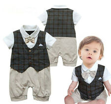Kids Baby Boy Toddler Bowknot Checks Gentleman Romper Jumpsuit Clothes Outfit