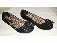Ladies/Girl's Black Faux Suede Studded Bow Ballet Flats (NIB)