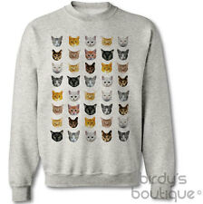 CAT FACE KITTEN HEAD KITTY SWEATER JUMPER HIPSTER MEOW FELINE SWEATSHIRT SWAG T