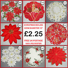 New Xmas Coaster Doilie Christmas Festive Round Embroidered mat placemat X278