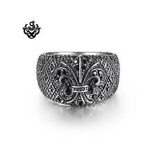 Silver fleur-de-lis black swarovski crystal ring solid stainless steel band