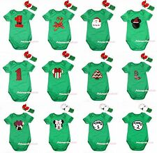 XMAS Kelly Green STICK SANTA CLAUS MINNIE CHRISTMAS TREE Baby Jumpsuit NB-12M