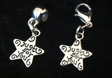 Tibetan Silver Just for you StarCharm Clip on clasp or bail for snake bracelets