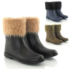 WOMENS FLAT FUR LINED WELLINGTON WINTER RUBBER RAIN KIDS ANKLE CALF BOOTS SIZE