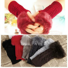Lady Women's Fashion Fingerless Gloves Knitted Fur Trim Gloves Mitten Winter