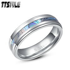 TTstyle 6mm Stainless Steel Mother Pearl Wedding Band Ring Size 5-14
