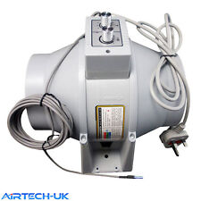 INLINE DUCT EXTRACTOR FAN 100mm 125mm 150mm 200mm TEMPERATURE  SPEED CONTROL