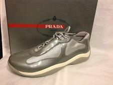 PRADA Manhattan Womens Patent Leather and Mesh Sneakers Shoes Grey Silver $420