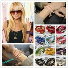 2015 Hot Sale Style Knit Shell Heart Rabbit Fashion Bracelet 12Colors To Choose