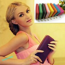 Fashion women PU Leather Wallet Clutch Long Handbag For Iphone Galaxy  12Colors