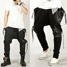 New Stylish Mens Mod Bottoms Dropping Strap Leather Pocket Slim Baggy Sweatpants