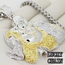 STAINLESS STEEL ICED OUT SILVER PENDANT&S.STEEL CHAIN/150g/IP44