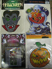 Halloween Window Stickers Decorations Witches Broom Ghost Pumpkins Scary Spooky